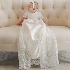 White Ivory Baby Baptism Lace Short Sleeve Soft Infan Christening Bonnet Custom