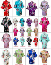 Women's Plain Silk Satin Robes Bridal Wedding Bridesmaid Bride Gown Kimono Robe=
