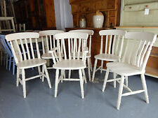 Painted Solid Pine / Beech Farmhouse Slat Back Kitchen / Dining Chair in Cream