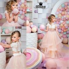 Flower Girl Dress Coral Prom Princess Pageant Bridesmaid Party Gown Jacket+Skirt