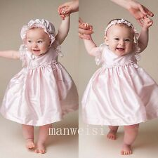 Lovely Pink Infant Christening Baby Girl Baptism Toddler Short Dress+Bonnet Gown
