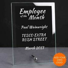 Personalised Employee of the Month Glass Plaque Trophy Award - Engraved Trophies