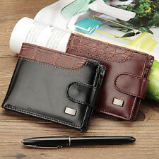 Mens Leather ID Credit Card Holder Clutch Bifold Money Purse Short Zipper Wallet