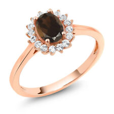 10K Rose Gold 0.99 Ct Oval Brown Smoky Quartz White Created Sapphire Ring