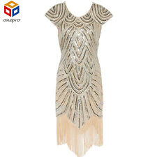 2017 Summer Vintage 1920s Flapper Great Gatsby Sequin Fringe Party Dress Plus...