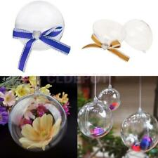 12x Clear Plastic Fillable Ball Sweets Candy Box w/ Bow Wedding Xmas Tree Decor