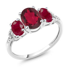 10K White Gold 2.55 Ct Oval Red Mystic Topaz Red Ruby 3-Stone Engagement Ring