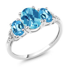 Diamond Accent 10k White Gold 2.35Ct Oval Swiss Blue Topaz Engagement Ring