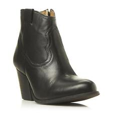 Steve Madden Ladies SOGOOD SM Leather Western Ankle Boot in Black