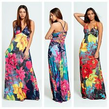 WOMENS LADIES SUMMER RING PLUNGE V NECK BACK DETAIL FLORAL PRINT LONG MAXI DRESS