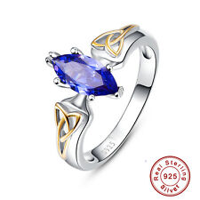 Gift Marquise Cut Fine Jewelry Tanzanite 925 Sterling Silver Ring Size 6 7 8 9