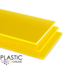 Yellow Fluorescent Transparent Perspex Acrylic Sheet Plastic Panel Cut to Size