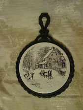 Currier And Ives Winter Scene Tile Trivets Metal Frames Good Condition