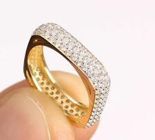 Sterling 925 Silver & Rose Gold White Cz 3 Line Square Eternity Ring