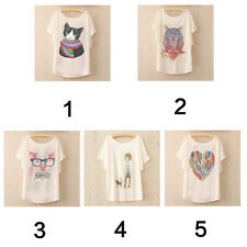 Women cotton Animal Print Batwing Blouse Summer Casual Loose Top T shirt Tee