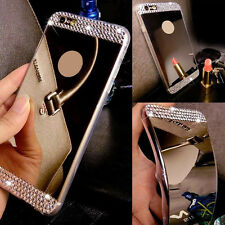 Bling Mirror TPU Clear Rhinestones Soft Back Case Skin Cover For iPhone&Samsung
