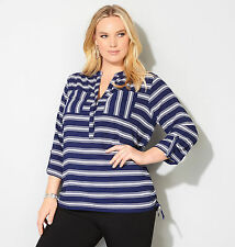 AVENUE Ruched Stripe Pocket Blouse