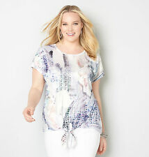 AVENUE Abstract Floral Tie Front Top