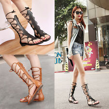 New Women Fashion Knee High Gladiator Sandal Cut Out Strappy Flat Sandal Shoes