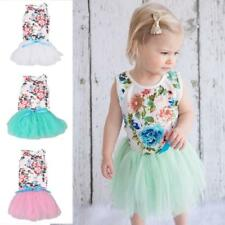 Baby Toddle Girls Tutu Dress Summer Sleeveless Tulle Skirts Floral Mini Dreses