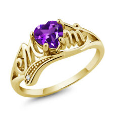 0.66 Ct Heart Shape Purple Amethyst 18K Yellow Gold Plated Silver Ring