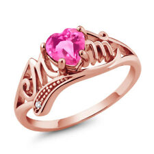 0.96 Ct Heart Shape Pink Mystic Topaz 18K Rose Gold Plated Silver MOM Ring