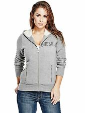 GUESS Womens Hoodie Track Jacket Quilted Sherpa Faux Fur Lined Logo S M Grey NWT