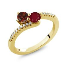 0.91 Ct Round Red Garnet Red Ruby Two Stone 18K Yellow Gold Plated Silver Ring