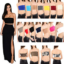 New Ladies Womens Boob Tube Bandeau Crop Vest Top Bra Summer Holidays Shirt 8-14