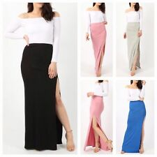 WOMENS LADIES ELASTICATED WAIST SPLIT SIDE SLIT LONG STRETCH JERSEY MAXI SKIRT