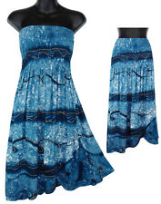 Blue Gold Tie Dye Dress Skirt Convertible Summer Beach Sundress NEW Womens S M L