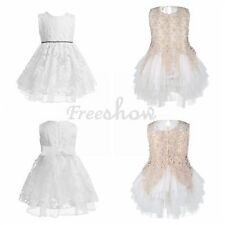 Kids Girls Lace Flower Tulle Dress Tutu Princess Pageant Weeding Party Dress
