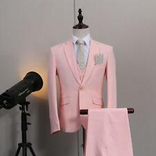Wedding Mens pink bridegroom blazer jacket pants vest 3 pieces set suits size CN