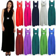 New Ladies Long Party Bridesmaid Dress TOP Wedding Gown Buckle MAXI Cocktail UK