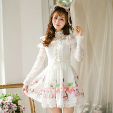 Princess Sweet Lolita Lace Chiffon Long Sleeve Dress Silm Mori Girl Elegant Lady