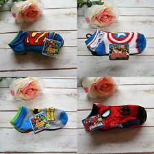 NWT Boys Super Hero Ankle Socks Avengers Justice League Spider-Man 5 Pk 6-8.5