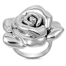 Sterling Silver 925 PRETTY ROSE FLOWER DESIGN SILVER RING 33MM SIZES 6-9