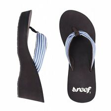 REEF LADIES GOLDEN WEDGE FLIP FLOPS - BROWN/BLUE