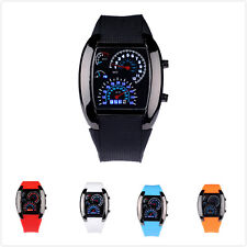 Hot Mens RPM Turbo Sports Watch Car Speed Meter Dial Flash Blue LED Wrist Watch