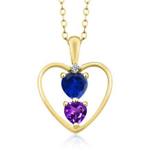 0.84 Ct Blue Simulated Sapphire Purple Amethyst 18K Yellow Gold Pendant