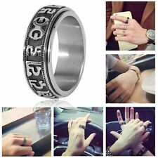 High Rotation Mantra Letter Ring Real Titanium Steel Silver Fine Jewelry LO