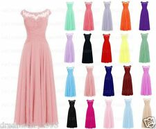 New Long Chiffon Formal Gown Party Cocktail Evening Bridesmaid Dress Size 6-20