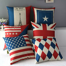 "17"" Square National Country Flag Home Decorative Throw Pillow Case Cushion Cover"