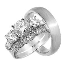 His and Her Vintage CZ Engagement Wedding Ring Set for Him & Her
