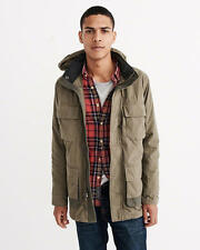 Abercrombie & Fitch Mens Jacket Utility Parka Military Style Hood S Olive NWT