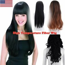 Long Straight Wig Synthetic Wig With Bangs For Party Women Heat Resistant Hair F