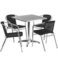 Skovde 27.5'' Square Aluminum Outdoor/Patio/Bar Table Set with 4 Rattan Chair