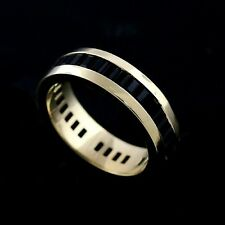 14k Gold 6mm Wide Channel Set Onyx Baguettes Stones All Around  Wedding Band