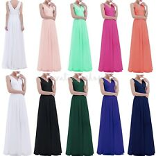Womens Formal Prom Dress Deep V Neck Back Wedding Evening Cocktail Party Gown