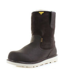 Mens Hey Dude Shoes Virgo Dark Brown Fur Lined Leather Boots Shu Size